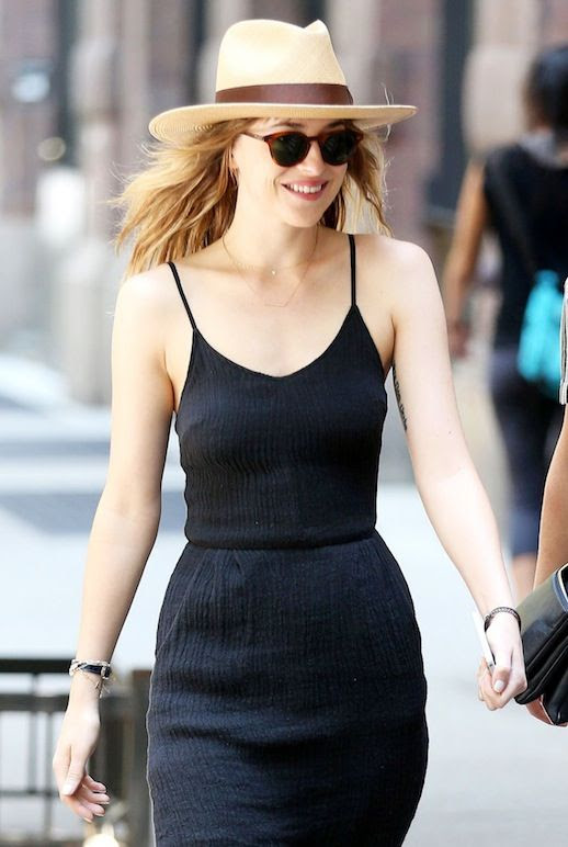 Le Fashion Blog Dakota Johnson Straw Hat Sunglasses Strappy Black Midi Dress Via Celeb Mafia