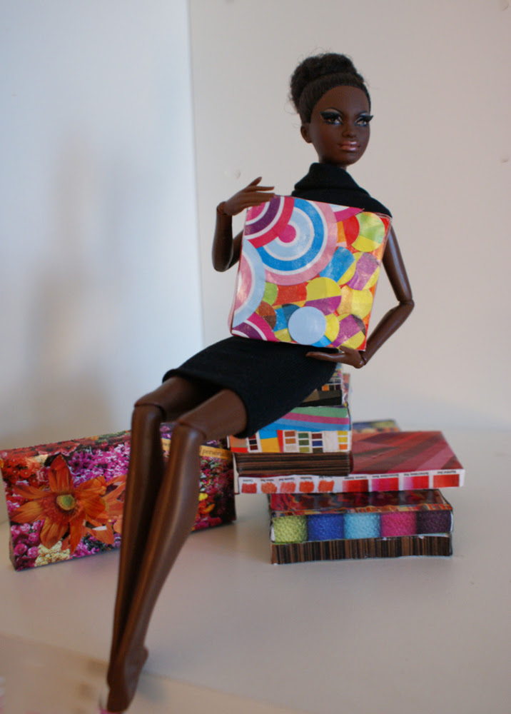 Alvin Ailey Barbie doll with mini collages on canvas