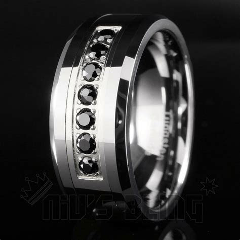 8mm Tungsten Carbide Simulated Black Diamond Silver
