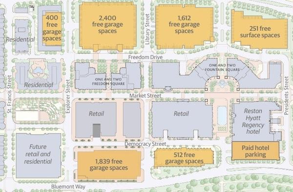 Parking plansReston Town Center offers 7,014 free parking spots in five garages and one surface lot. The Reston Hyatt Regency Hotel administers the only paid garage on site so far, though property owner Boston Properties says that could change in the near future.
