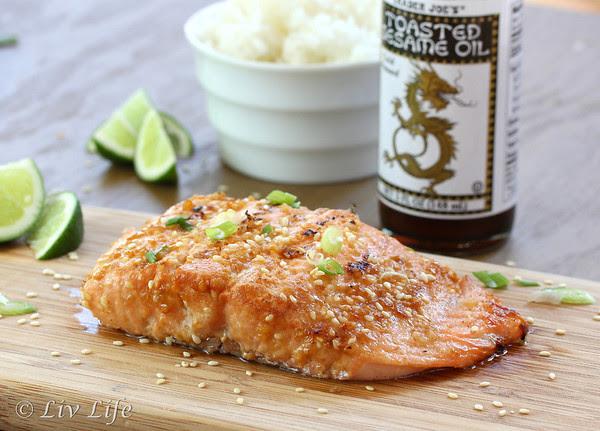 Asian Sesame Salmon on cutting board