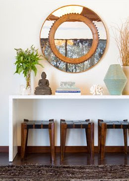 Suzie: Buddha zen space  Gloss white lacquer console table with large round mirror with small ...