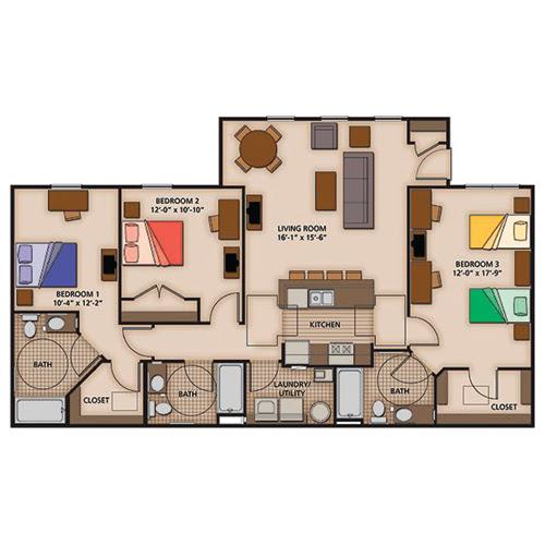 2 3 And 4 Bedroom Apartment Floor Plans Capstone Quarters
