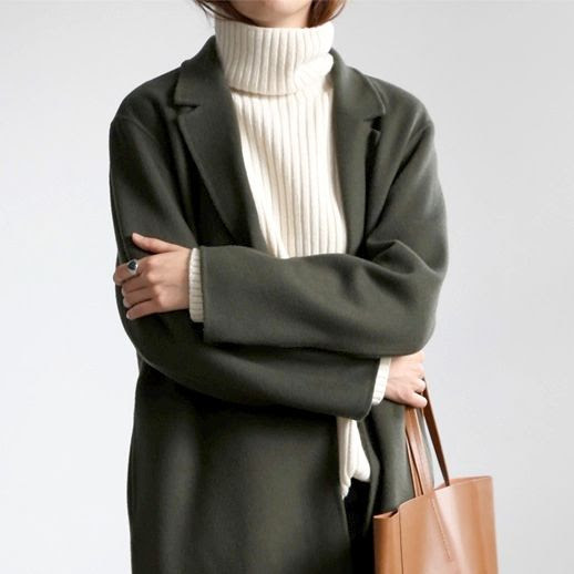 Le Fashion Blog Wool Coat White Ribbed Turtleneck Brown Tote Via Flat 80