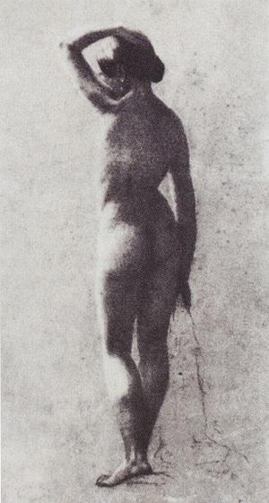 Français : Jeune femme nue vue de dos Drawing ...