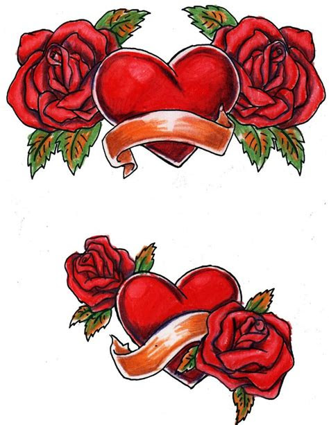 large printable tattoo designs hearts roses