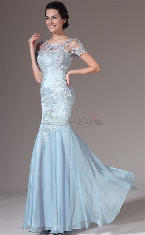 Sky Blue Chiffon and Lace Long Scoop Neck Mermaid