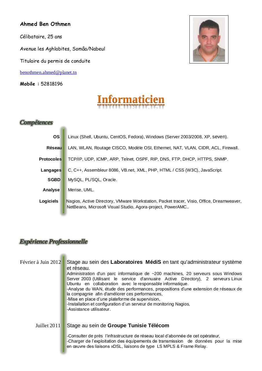 Example Resume: Exemple De Cv En Anglais Tunisie