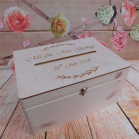 Wedding Guests Wish Post Box with Wreath of Leaves Wooden