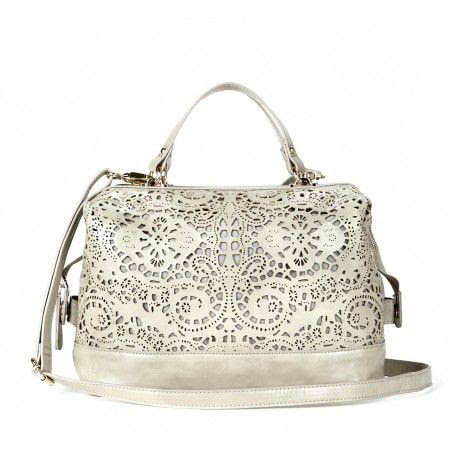Laser cut satchel bag in white