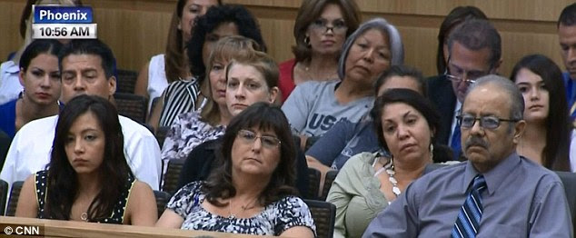 Family: Members of Arias' family listen to her testimony in court on Tuesday