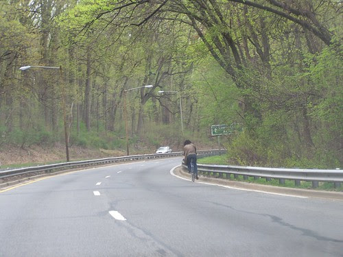 Bicyclist on Military Road NW in Rock Creek Park