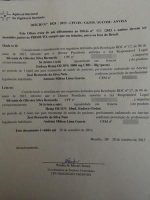 Anvisa autorizou uso do medicamento à base do canabidiol (Foto: Joalline Nascimento/ G1)