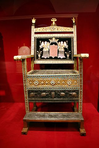 Diamond throne of Tsar Alexis Mikhailovich, in Kremlin Armoury.