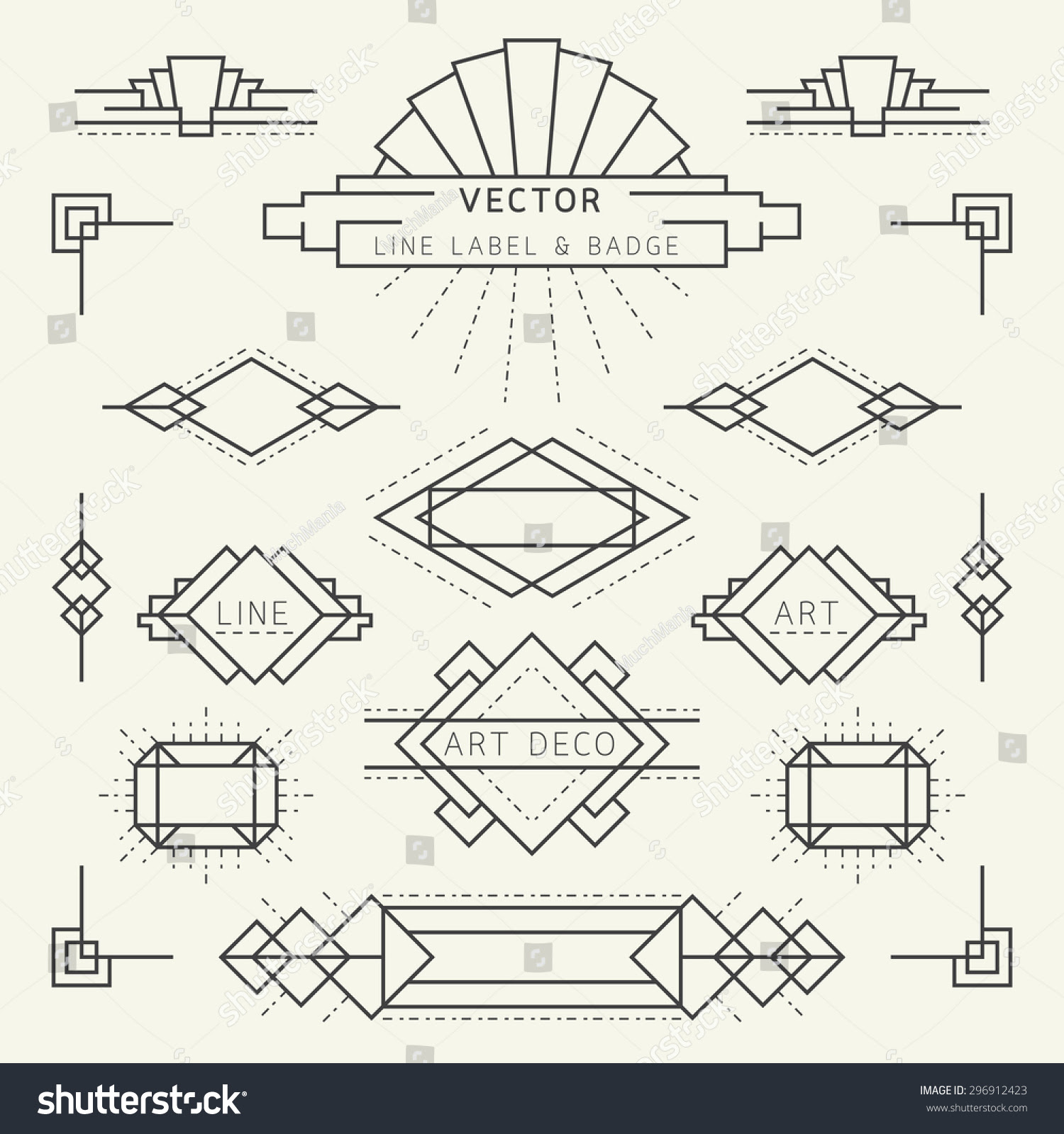 Art Deco Style Linear Geometric Labels And Badges Monochrome Graphic Elements Ad Ad Linear Geometric Styl Art Deco Logo Art Deco Font Bullet Journal Art