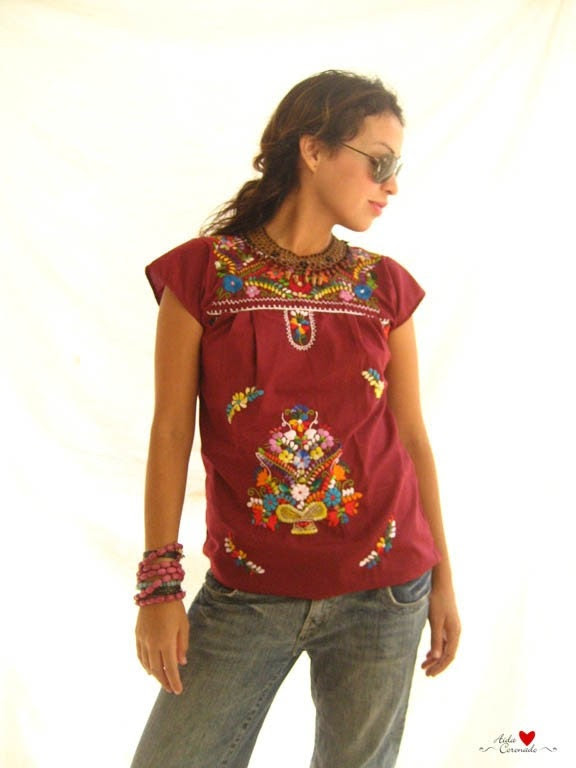 Cute Mexican embroidered Mini  dress tunic tent size S M wine night