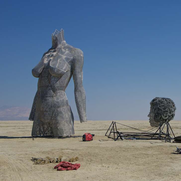Art being installed during Burning Man, 2015.