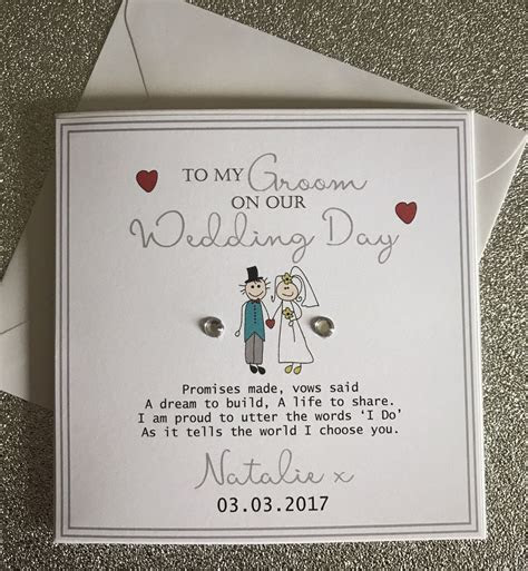 Groom Wedding Day Card   Personalised Keepsake Card   On