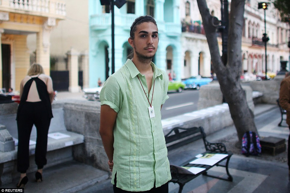 Special guest: Antonio Castro, aspiring model and grandson of former president Fidel Castro, is seen prior to the fashion show
