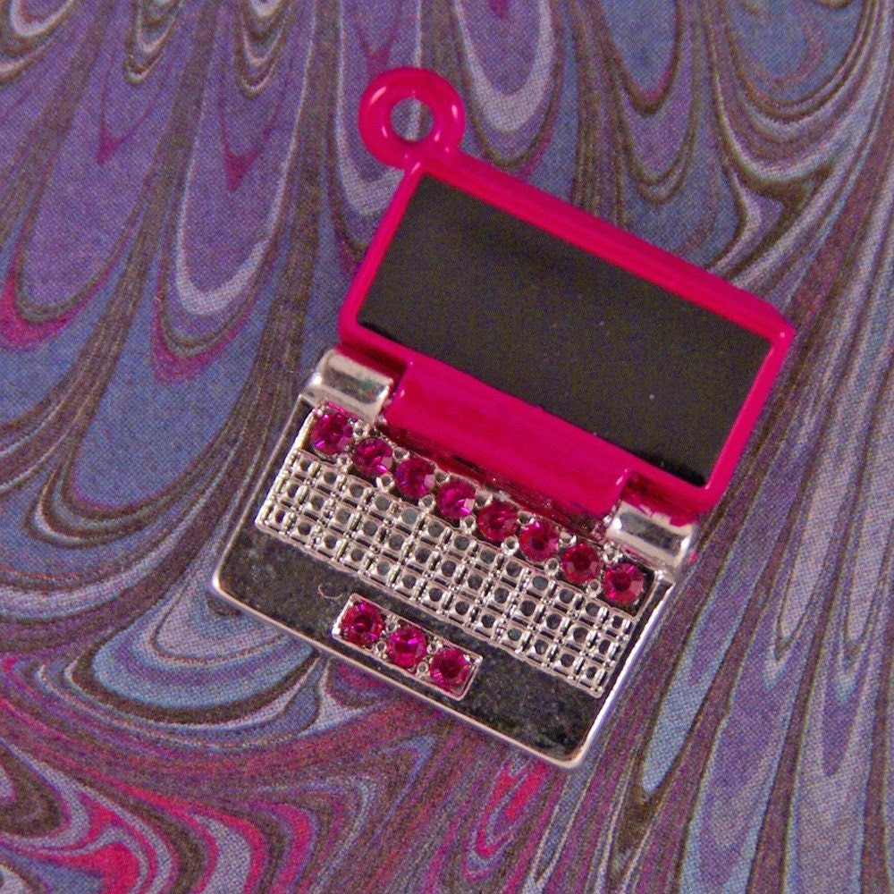 TECHNOLOGY- Pink Enameled Silver-tone Closable Laptop Computer Charm