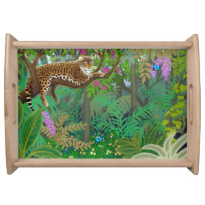 Leopard at Rest in Central American Jungle Tray Serving Platters