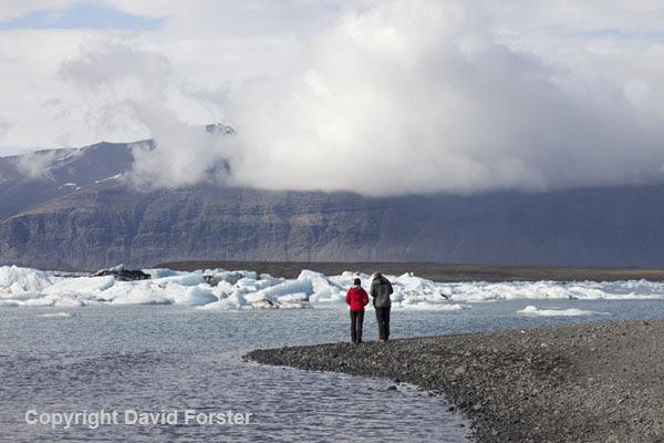 06D-2205 Enjoying the View over the Jokulsarlon Glacial Lagoon Vatnajokull National Park Iceland