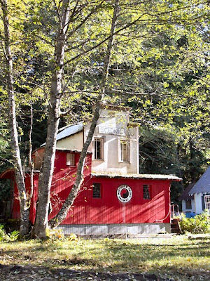 a cabin made from an old Caboose