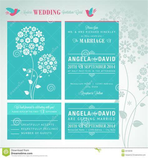 Modern Wedding Invitation Card Set Stock Vector