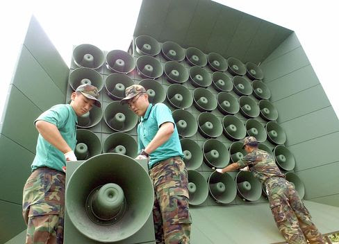 A battery of propaganda loudspeakers along the border with North Korea