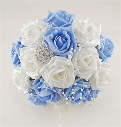 Light Blue and White Diamante Foam Rose, Brooch Wedding
