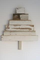 wood & wool white x-mas tree seven