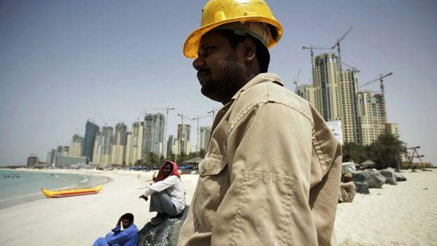 Trabalhador da construção civil em Dubai
