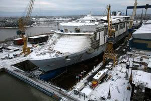 The OASIS OF THE SEAS oceanliner, which will become the largest cruise ship in the world after completion this year, undergoes construction in Finland.