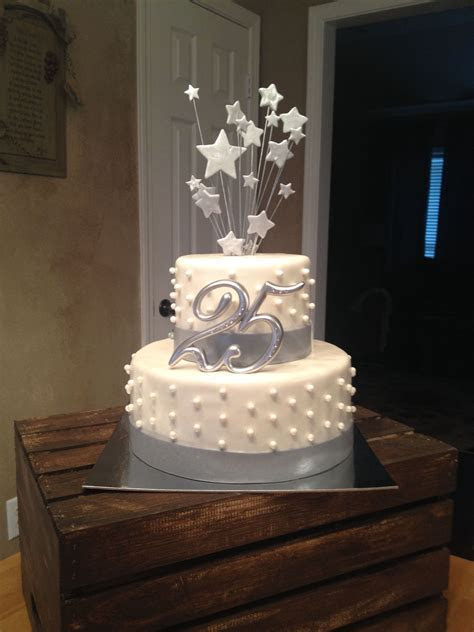 25th wedding anniversary cake silver #