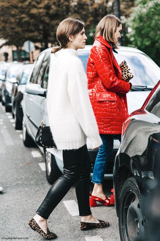 Le Fashion Blog Winter Street Style White Fuzzy Sweater Leather Leggings Leopard Print Loafers Via Collage Vintage