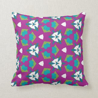 Throw Pillow in Magenta, Teal, Green and White