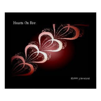 Hearts Fractal Art Poster Wall Decor Graphic Arts