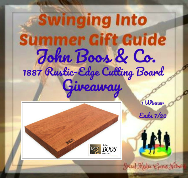 Enter the John Boos & Co. 1887 Rustic-Edge Cutting Board Giveaway. Ends 7/20
