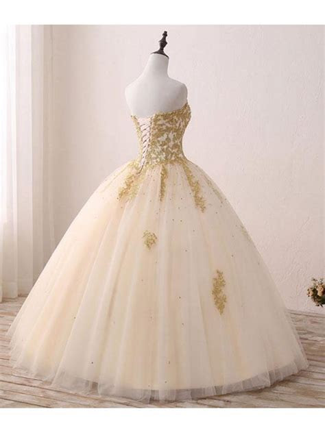 Ball Gown Sweetheart Gold Lace Appliques Long Prom Dresses
