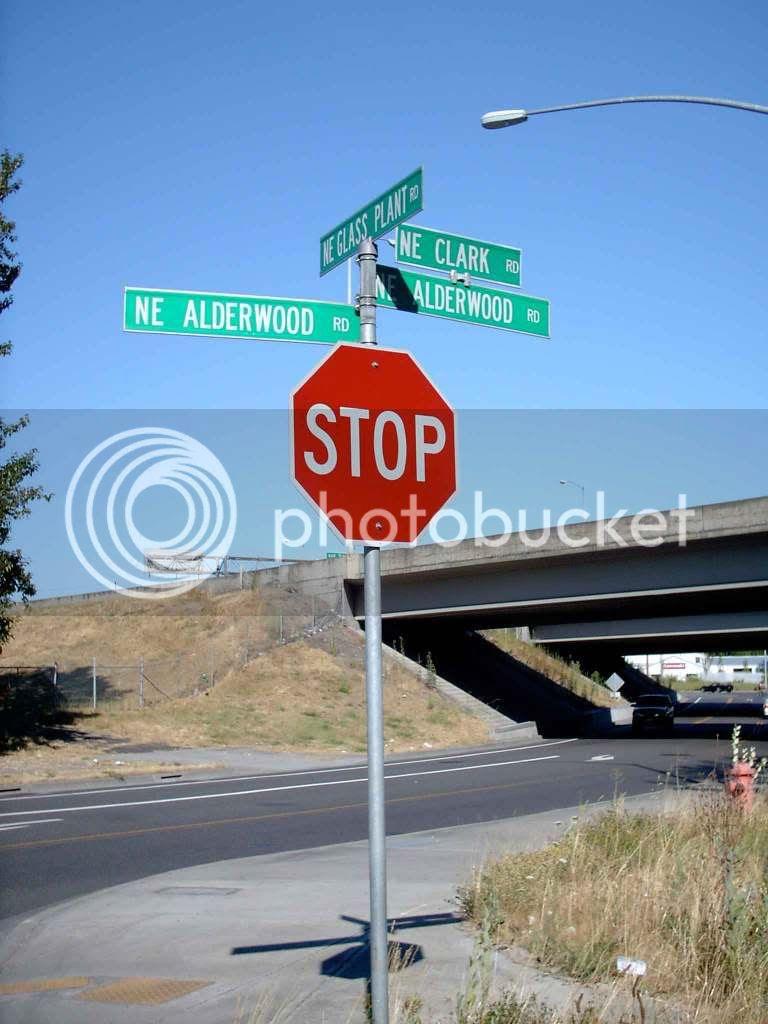 Clark Rd/Alderwood Rd/Glass Plant Rd sign, Portland, Oregon