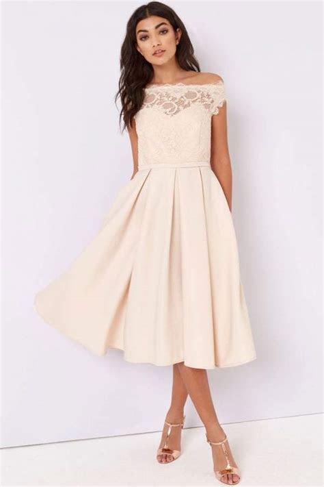 Little Mistress Cream Lace Bardot Dress   Wedding Guest