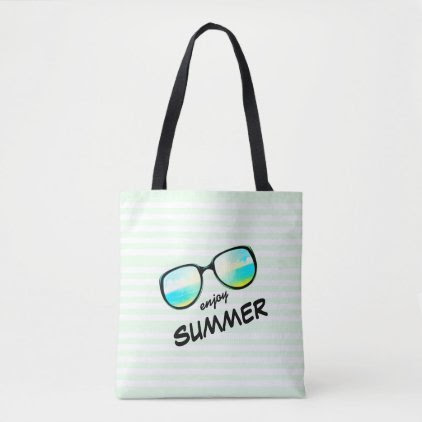 Enjoy Summer / Fun Retro Beach Sunglasses Tote Bag