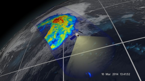 An extra-tropical cyclone seen off the coast of Japan, March 10, 2014, by the GPM Microwave Imager. The colors show the rain rate: red areas indicate heavy rainfall, while yellow and blue indicate less intense rainfall. The upper left blue areas indicate falling snow. Credit:  NASA/JAXA