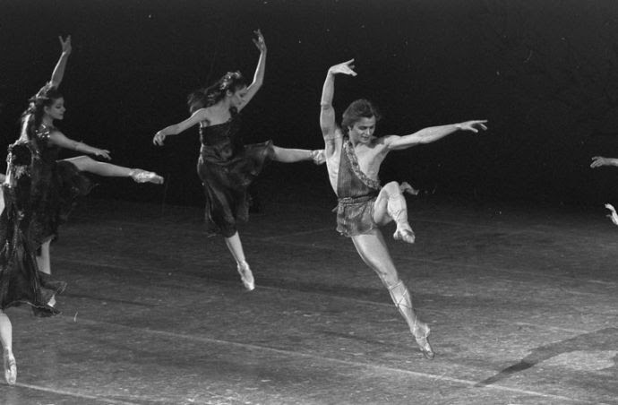 "Mikhail Baryshnikov, pictured here in a 1979 production of ""The Four Seasons,"" was among the honorees at the fiftieth-anniversary gala of the New York Public Libary for the Performing Arts."