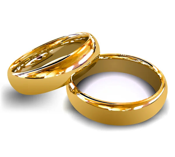 Gold wedding rings Vector illustration by Stock