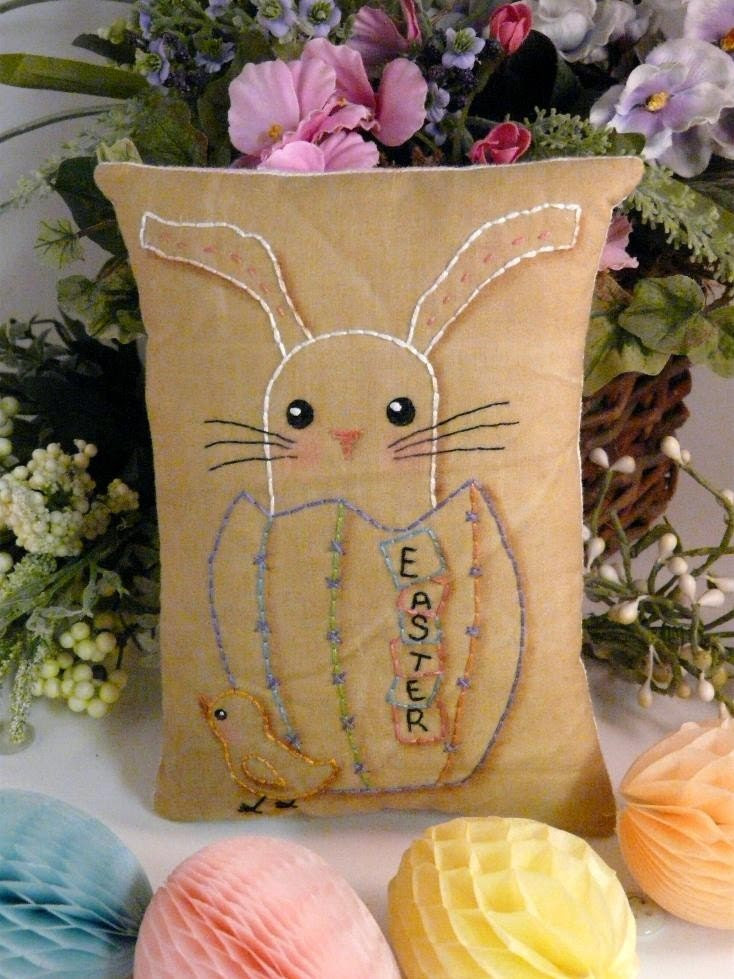 new 2011 Easter Egg bunny Chick Stitchery E Pattern - email Pdf primitive embroidery pillow pinkeep tag pincushion tuck