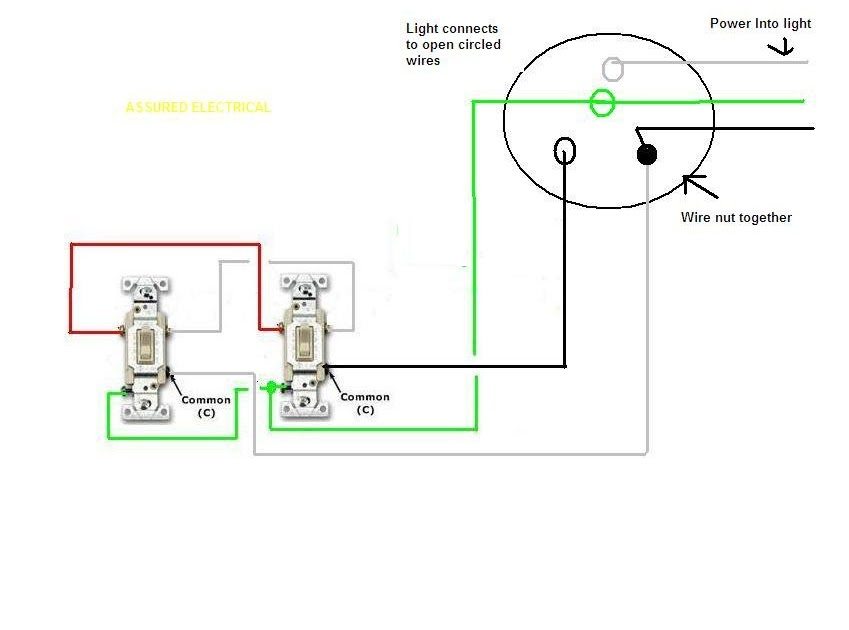 Residential Electric Panel  How To Connect 2 Switches To One Light
