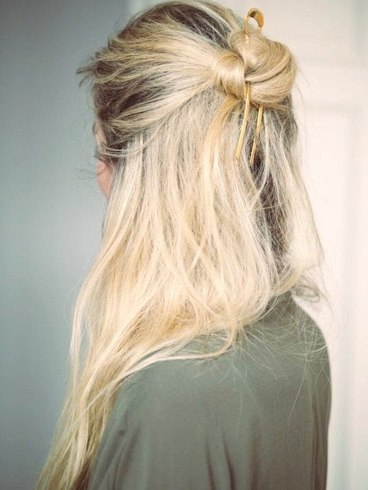 4 Le Fashion Blog 20 Inspiring Half Up Top Knot Hairstyles Blonde Hair Bun Via Camilla Pihl