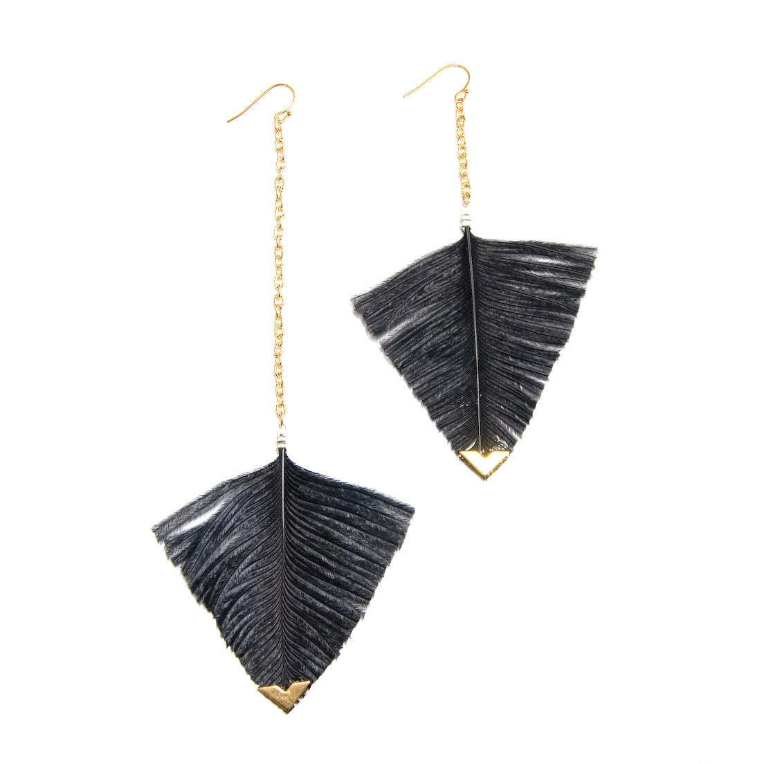 Statement Feather Earrings - Geometric Jewelry - Feather Earrings - Minimalist Earrings - Modern Cut - noemiah