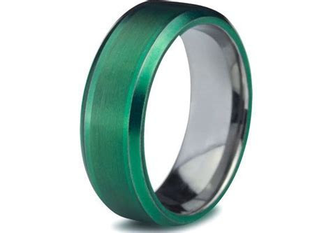 Green Tungsten Ring,Green Men Tungsten Rings,Green Wedding